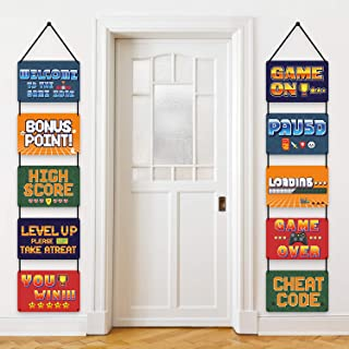 10 Pieces Video Game Sign Cutouts for Video Theme Party Decorations, Birthday Party Favors Arcade Directional Signs Video Game Party Supplies with Ribbons and 40 Glue Point Dots