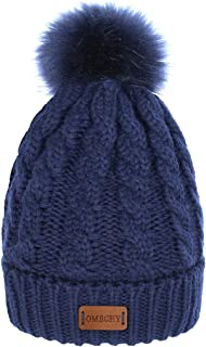 Women's Winter Knit Hat Trendy Slouchy Beanie with Warm Fleece Lining Skull Chunky Soft Thick Cable Ski Cap in 5 Color