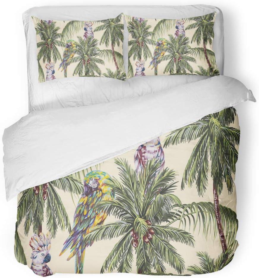 Amazon.com SanChic Duvet Cover Set Tropical Floral Pattern ...