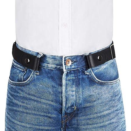 "VBIGER Men Women No Buckle Belt Buckle-Free Elastic Belts Unisex Durable Invisible Adjustable Waist Belt Fits 24""-59"" with Thickened Belt Strap and Bonus Metal Buckle"