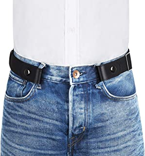 "VBIGER Men Women No Buckle Belt Buckle-Free Elastic Belts Unisex Durable Invisible Adjustable Waist Belt Fits 24""-59"" with..."