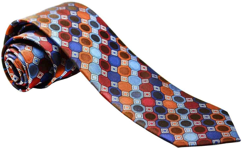 Burnt Ochre Silk Necktie Set by Paul Malone,Regular Tie (58'Longx3.25'Wide),Orange