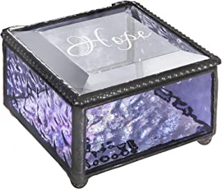 Personalized Jewelry Box Inspirational Gift for Her Stained Glass Engraved Keepsake Mom, Daughter, Granddaughter, Girl, Friend J Devlin Box 899 EB247 (Purple)