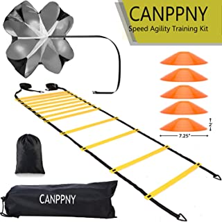CANPPNY Speed Agility Training Kit�Includes Agility Ladder with Carrying Bag, 5 Disc Cones, Resistance Parachute.Use Equipment to Improve Footwork Any Sport.