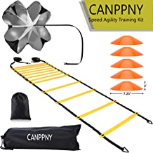 CANPPNY Speed Agility Training Kit—Includes Agility Ladder with Carrying Bag, 5 Disc Cones, Resistance Parachute, 4 Steel Stakes.Use Equipment to Improve Footwork Any Sport.