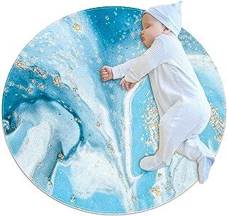 Blå vit gyllene abstrakt, barn rund matta polyester överkast matta mjuk pedagogisk tvättbar matta barnkammare tipi tält le...