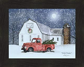 Home Cabin Décor Wintry Weather by Billy Jacobs 16x20 Farm Barn Old Truck Christmas Trees Wreath Silo Full Moon Winter Seasons Framed Folk Art Print Picture