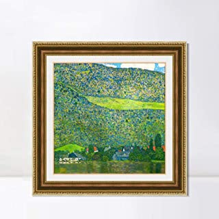 INVIN ART Framed Canvas Art Giclee Print Litzlberg on Lake Attersee, Austria. 1915 by Gustav Klimt Wall Art Living Room Home Office Decorations(Embossed Gold Frame with Liner,32