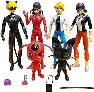 Ladybug Action Figure 6Pcs Miraculous Tikki Noir Cat Plagg Adrien Action Figures Toy Set Minifigures Kid's Gift Children Game