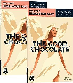 The Good Chocolate Zero Sugar 65% Himalayan Salt Dark Chocolate Bars, Organic, Keto Friendly, Low Carb, Sugar Free Snacks and Treats, 2.5 Ounce Bars (2 Pack)