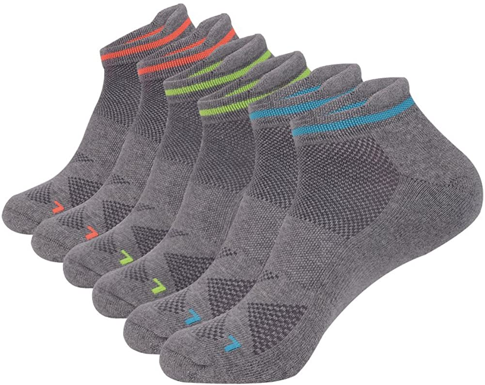 JOYNÉE Men's 6 Pack Athletic Cotton Breathable Short Ankle Socks with Tab