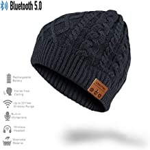 CCHKFEI Bluetooth 5.0 Beanie Hat, Unisex Beanie Bluetooth Musical Hat with Speaker Mic Winter Sport Cap Warm & Comfortable for Gifts (Black Flower)