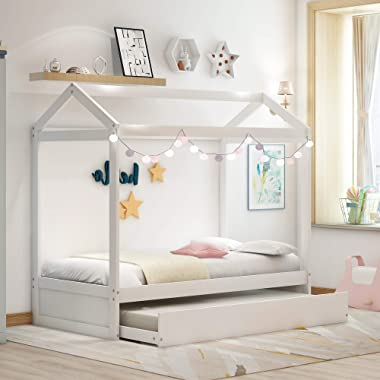 House Bed with Trundle for Kids and Toddlers, Wood Twin Size House Bed Frame, Can Be Decorated, White