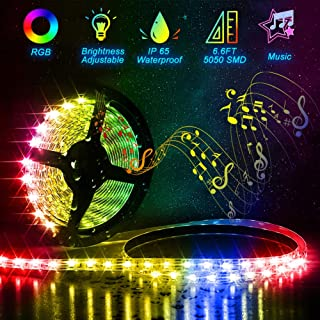 Led Strip Lights Battery Powered,6.6FT/2M /Sync to Music/Color Changing RGB SMD5050 60 LEDs Waterproof Rope Lights Flexible LED Strip Kit ,for Home Bedroom DIY Party Indoor Outdoor (6.6 FT)