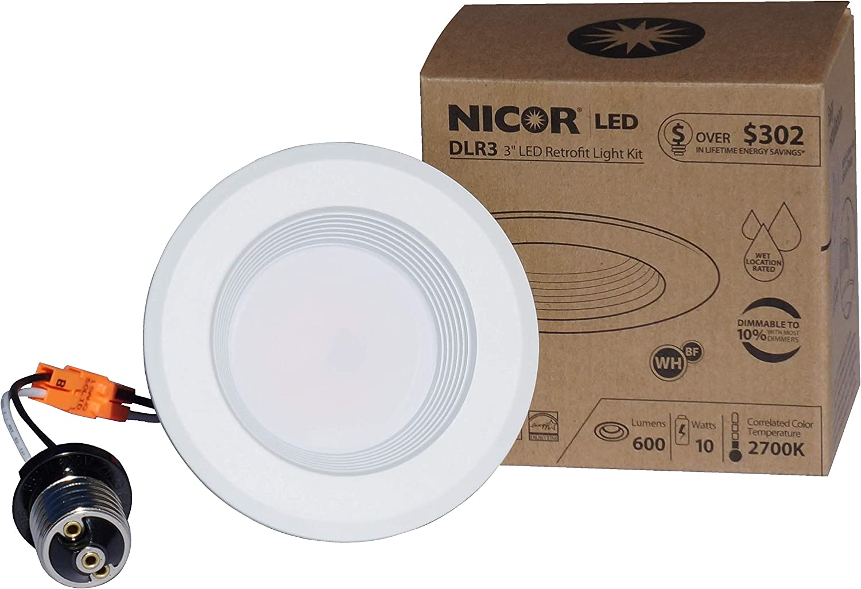 Nicor Beleuchtung dimmbar LED Einbaustrahler Einbauleuchte 7.62 cm 4000k