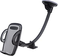 Beam Electronics Cell Phone Holder for Car, Windshield Long Arm Car Phone Mount with One Button Design and Anti-Skid Base Car Holder Compatible iPhone Xs MAX/XS/XR/X/8/7/7P/6s, Galaxy S6/S7/S8,Google,