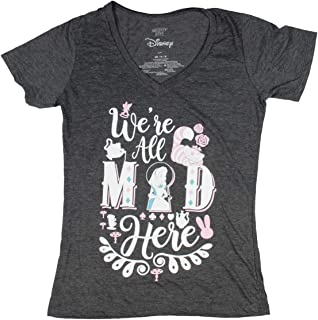 Alice in Wonderland Juniors' We're All Mad Here V-Neck T-Shirt