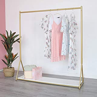 "Gold Clothing Rack with shelf Heavy Duty Garment Rack Modern Display Rack for Home, Boutique, Retail (Iron)- 59''L x 15.7""W x 63""H"