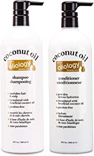 Oliology Nutrient Rich Coconut Oil Shampoo and Conditioner Combo Pack, 32 oz
