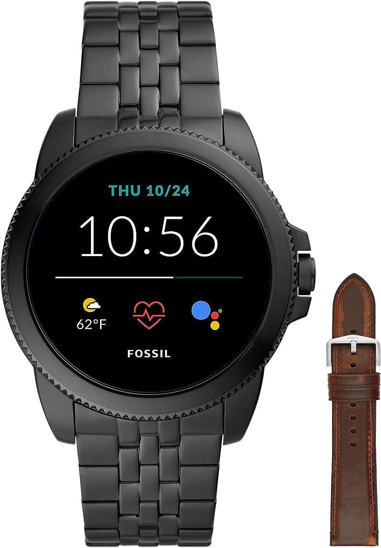 Fossil Connected Smartwatch Gen 5E para Hombre con tecnología Wear OS de Google, frecuencia cardíaca, Acero Inoxidable Negro + Correa de Reloj S221299, Cuero Marrón Oscuro