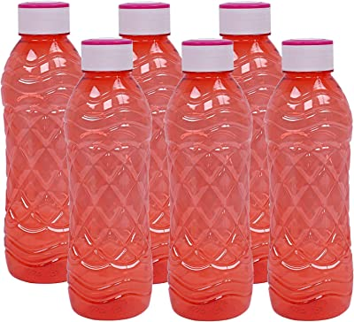Kuber Industries Plastic 6 Pieces Fridge Water Bottle Set- 1000 ML (Red) -CTLTC12467