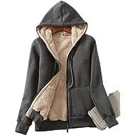 Yeokou Women's Casual Winter Warm Sherpa Lined Zip Up Hooded Sweatshirt Jacket Coat