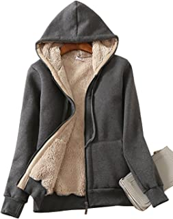 Yeokou Women's Full Zip up Sherpa Lined Hoodie Sweatshirt Jacket Coat