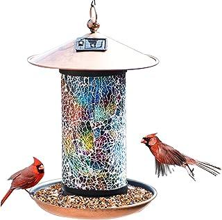 XDW-GIFTS Solar Bird-Feeder for Outside Hanging Outdoor - Solar Powered Garden Lantern Light Bird-House Wild Hanging Birdf...
