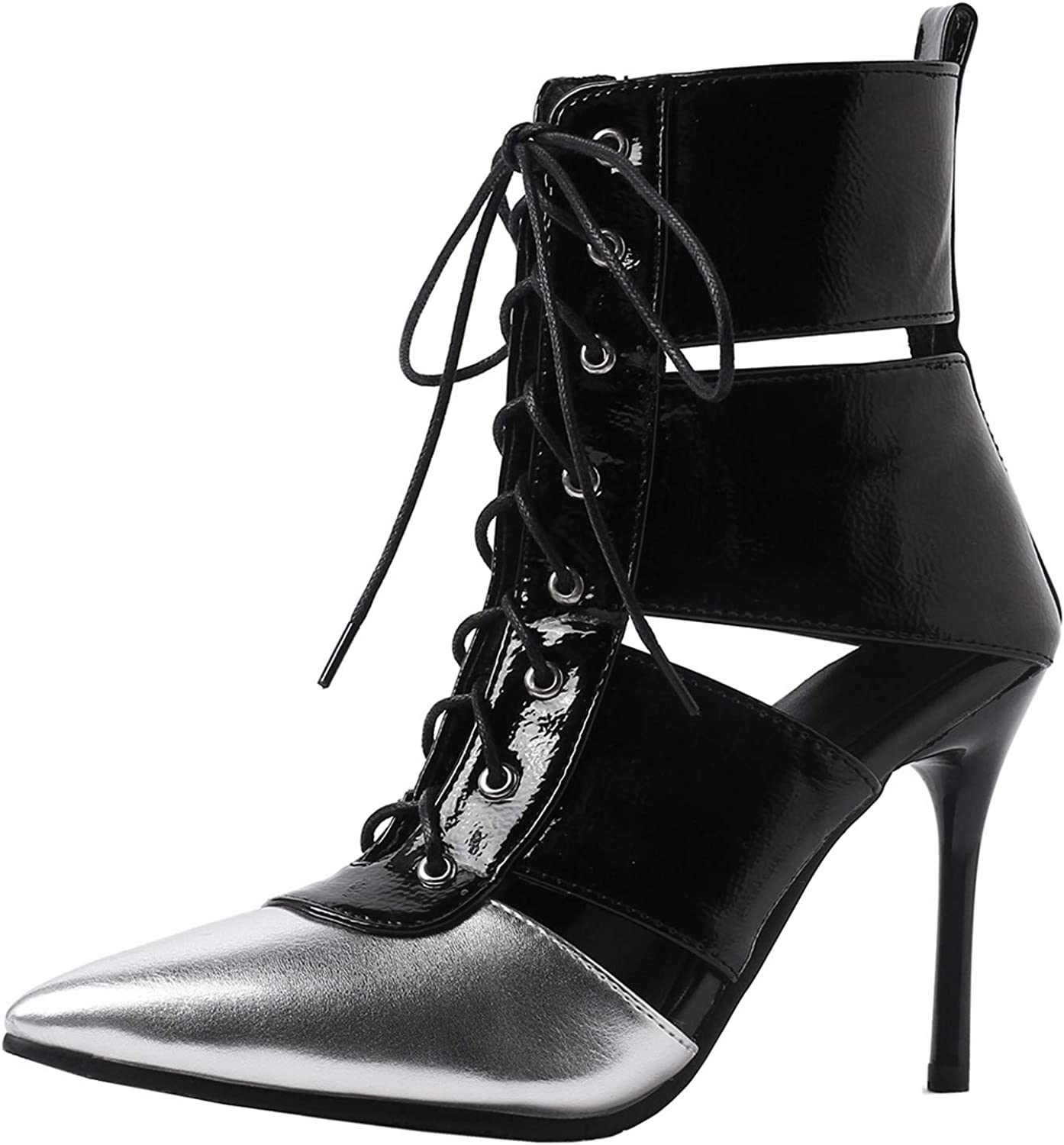 Rongzhi Womens Heeled Sandals Ankle Boots Stilettos High Heels Pointed Toe Lace Up Booties Pumps Flower