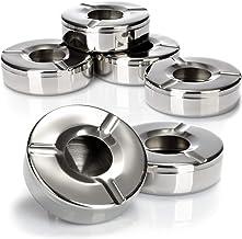com-four® 6X Cendriers en Acier Inoxydable - Cendrier à Vent avec Couvercle Amovible pour protéger des Cendres Volantes - Ø 11 cm (006 pièces - Acier Inoxydable)