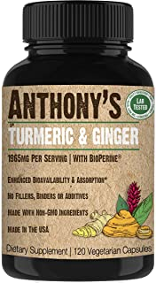 Anthony's Turmeric & Ginger Supplement, 120 Capsules, 1965mg Per Serving, Black Pepper Extract for Enhanced Bioavailability