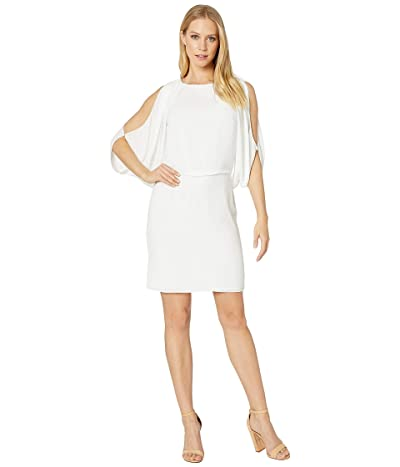 Halston Heritage Cap Sleeve Fitted Open Back Dress (Chalk 1) Women