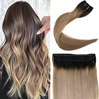 You Shine Crown in Invisible Double Weft Hair Extension 12inch Balayage Color Hidden Fish Line Halo Extension Heat Resistant Real Human Hair Piece
