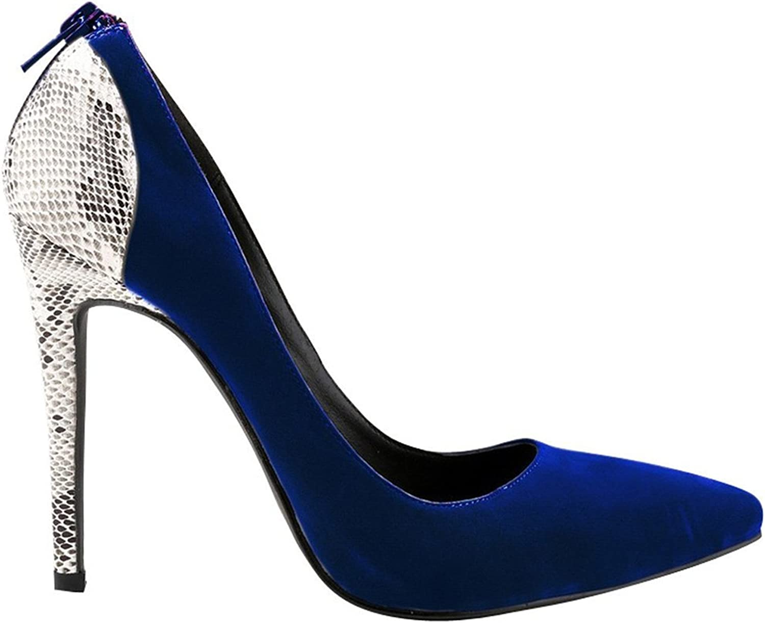 WANabcMAN Comfortable Women's Suede Pointy Stiletto High Heels Party Pumps Weeding shoes Royal bluee 42