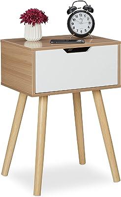 Relaxdays Chevet tiroir, Table de Nuit rétro Chambre, MDF Aspect Bois, HLP: 58,5 x 40 x 30 cm, Nature/Blanc, 1 élément