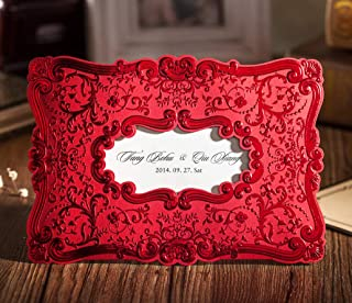 WISHMADE 50x Romantic Red Emboss Wedding Invites Kits with Envelopes, Customized Vintage Bridal Shower Invitations, for Engagement Birthday Quinceanera Baby Shower Anniversary