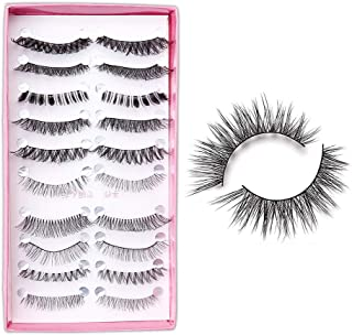 Electomania 10 Pairs Mixed Style Multipack False Eyelash 3D Soft Mink Eyelashes Wispy Long False Lashes Natural Eye Makeup Eye Lashes (Black)