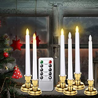 Window Candles with Remote Timers, 6 Packs Battery Operated Flickering Flameless Led Taper Electric Candles for Birthday Wedding Party Christmas Decorations (6 Packs Window Candles with Holders)