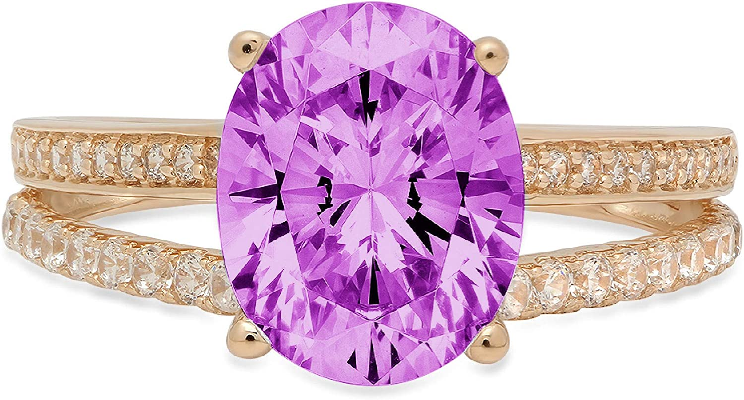 3.17 ct Oval Cut Solitaire with Accent split shank Stunning Genuine Flawless Simulated Purple Alexandrite Modern Promise Statement Designer Ring 14k Yellow Gold