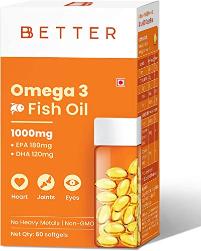 BBETTER Omega 3 Fish Oil 1000mg Omega 3 Fatty Acid capsules with 180 mg EPA 120 mg DHA 60 Softgels Omega 3 Fish Oil Supplements for Women and Men