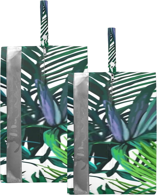 Waterproof Travel Shoe Bag Pack Leaves Zipper Special price Mail order Green Exotic