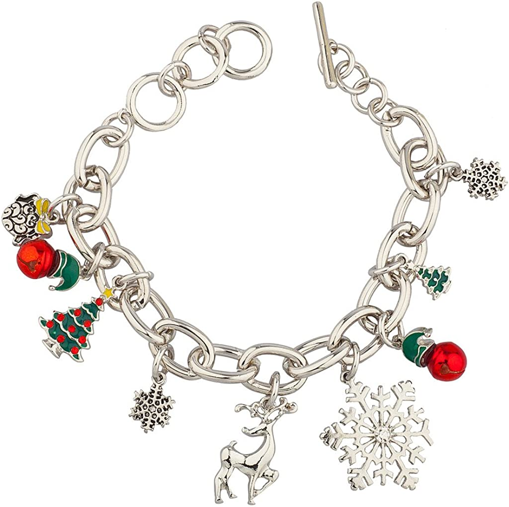Lux Accessories Challenge the lowest price Max 45% OFF Reindeer Christmas Snowflake Tree Jingle Bells G