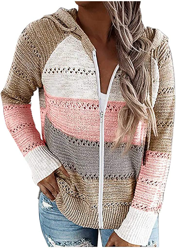 Women's Casual Long Sleeve Zip Up Hoodie Jacket Lightweight Drawstring Color Block Knitted Sweatshirt with Plus Size
