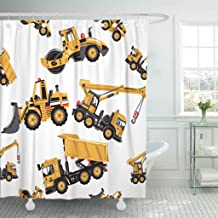 Emvency Shower Curtain Road Roller Bulldozer Dumper Truck Crane Inspired by Building Machinery for Children's Room Mobile Waterproof Polyester Fabric 72 x 72 inches Set with Hooks