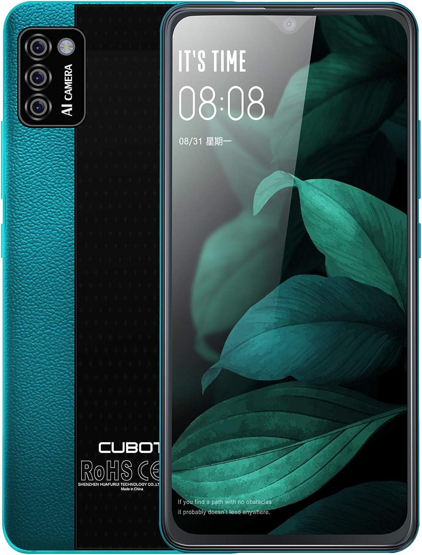 CUBOT Note 7 Smartphone Libre, Móvil Barato y Bueno 4G 5,5 Pulgadas 2GB RAM 16GB ROM, 3100 mAh Cámara Triple 13MP Dotdisplay Face ID Dual Nano SIM Teléfono Móvil Android 10, Verde