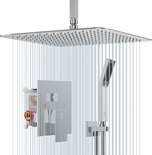SR SUN RISE 16 Inches Brushed Nickel Shower System Bathroom Luxury Rain Mixer Shower Combo Set Ceiling Mounted Rainfa...
