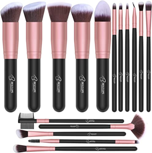 BESTOPE Makeup Brushes 16 PCs Makeup Brush Set Premium Synthetic Foundation Brush Blending Face Powder Blush Conceale...