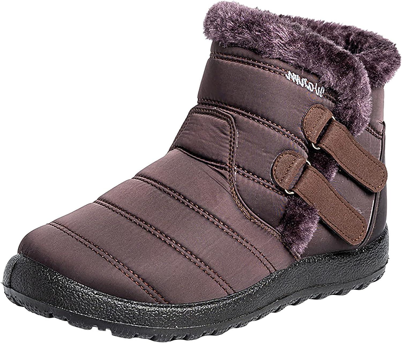 Warm Snow Boots Outdoor for Women Winter Fur Lining Shoes Anti-Slip Lightweight Ankle Bootie Waterproof Slip on Sneakers