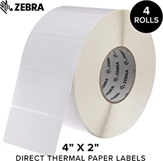 Zebra - 4 x 2 in Direct Thermal Paper Labels, Z-Perform 2000D Permanent Adhesive Shipping Labels, Zebra Industrial Printer Compatible, 3 in Core - 4 Rolls