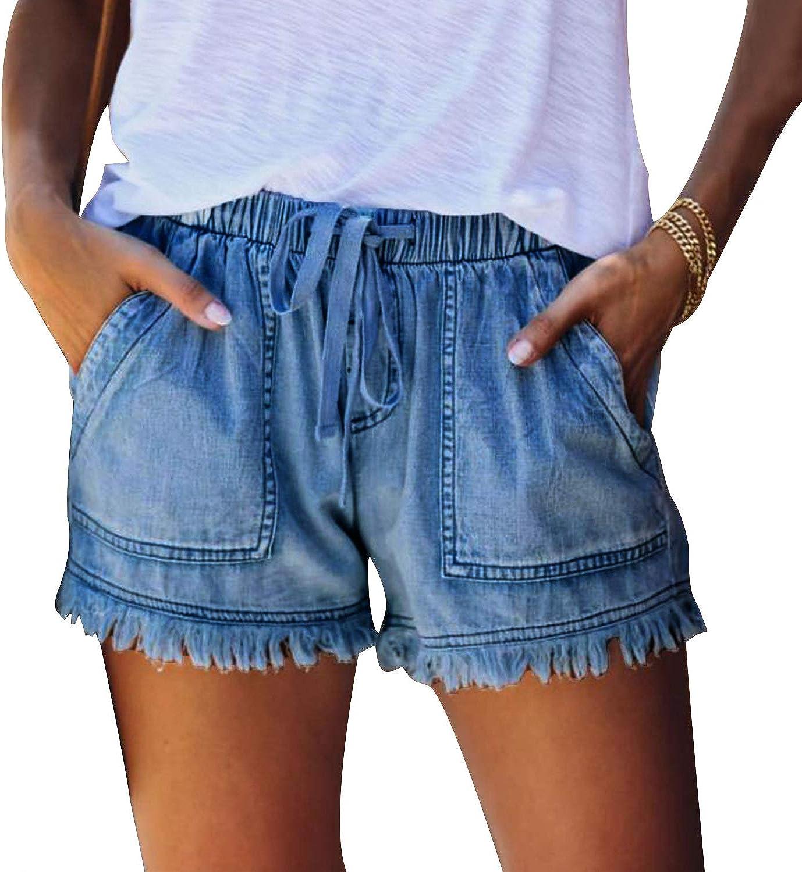 San Diego Mall Cheap mail order sales PESION Women's Frayed Raw Hem Waist Shorts Denim High Drawstring